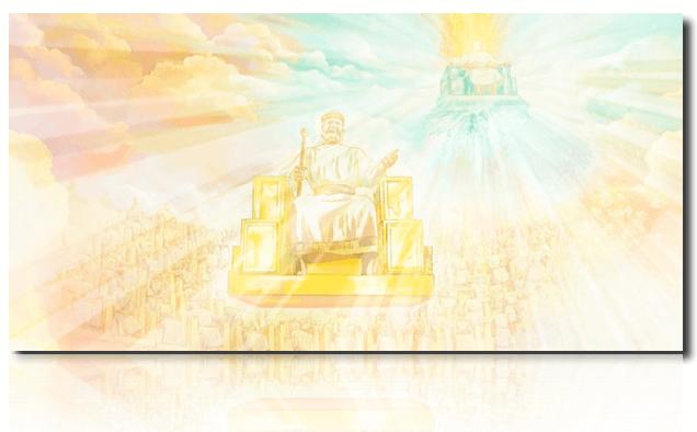 Watchtower illustration Jesus on Jehovah's throne