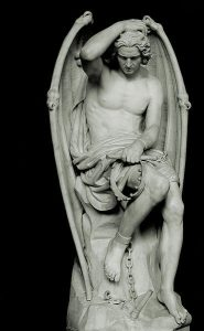 Lucifer, fallen angel statue