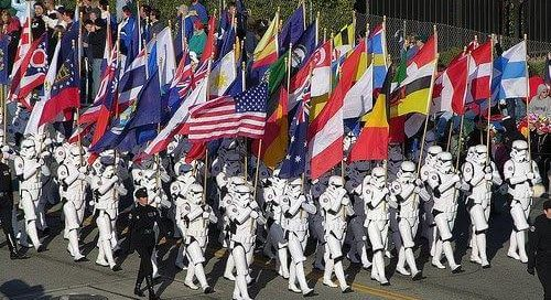 UN storm troopers with national flags on parade