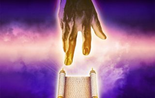 Hand of God touches sacred scroll