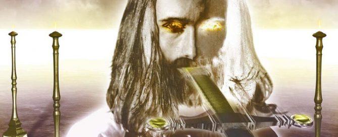 Christus mit feurigen Augen und ein Schwert aus seinem Mund hervorstehenden