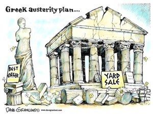 cartoon - selling off the Greek Parthenon
