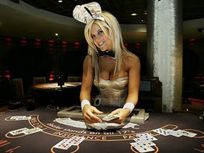 casino bunny dealing Blackjack
