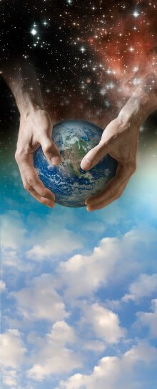 God holds world in hands