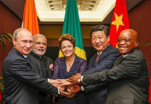 Leaders of the BRICS nations shake hands