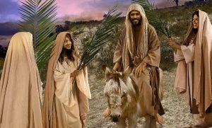 Jesus enters Jerusalem on a donkey