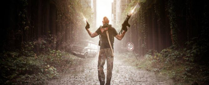 Man with machine guns firing walks down street in post-apocalypse world