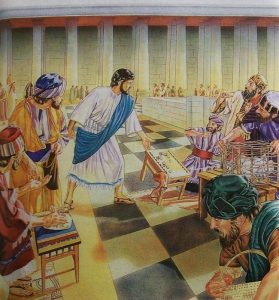 Jesus throws the moneychangers out of the temple courtyard