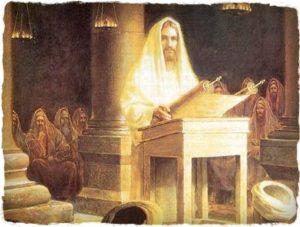 Jesus teaching in synagogue
