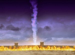 walled city of Jerusalem protected by fire