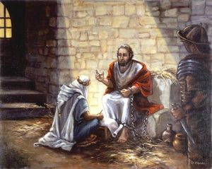 apostle Paul in chains dictating letter