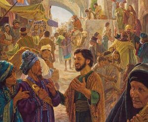 1st century Christians in the streets of Jerusalem on Pentecost