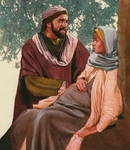 Joseph and Mary on the road, Mary resting, heavy with child