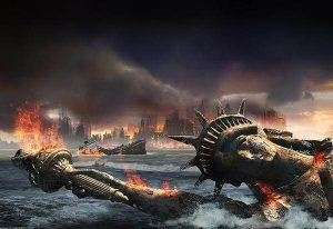 Lady Liberty lies fallen