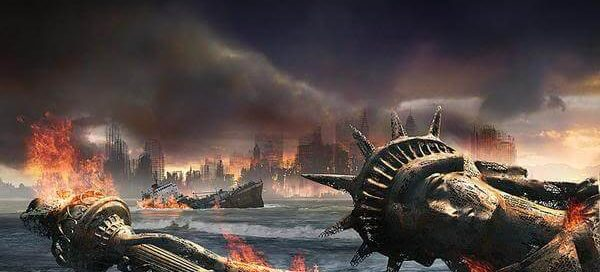 Lady Liberty lies fallen