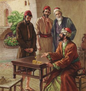 master settles accounts with slaves - illustration of Jesus' parable