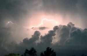 lightning lights up the sky