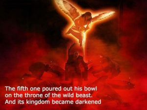 Angle pours out his bowl of Jehovah's wrath on the throne of the beast