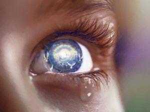 looking to heaven, eye reflects coming of Christ