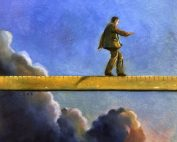 Concept - man walking on giant measuring stick
