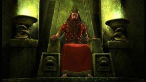 Nebuchadnezzar sits enthroned