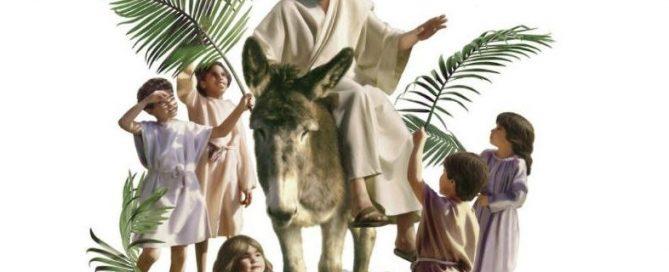 Jesus rides donkey's colt into Jerusalem