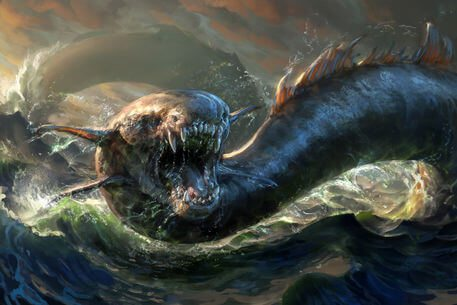 Jehovah judges Leviathan, the gliding serpent