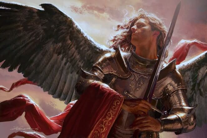 Michael the archangel with sword in hand ready to slay the dragon