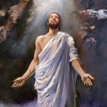 The resurrected Jesus looks to God in heaven