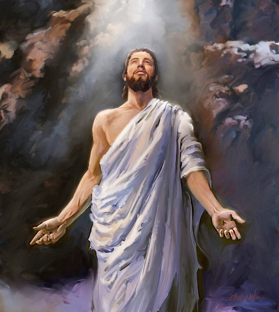 The resurrected Jesus looks to God in heaven