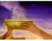 Priest presents drink offering to Jehovah