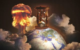Hourglass imposed on earth, concept of time of the end