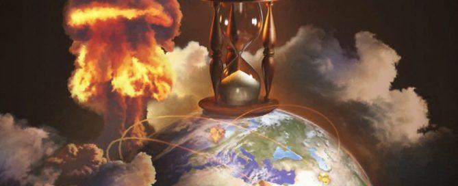Sanduhr auferlegt auf der Erde, das Konzept der Zeit des Endes
