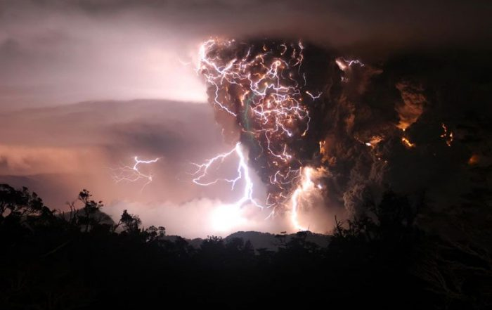 Ominous cloud, lightning from volcanic eruption