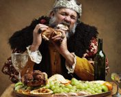King feasting at table