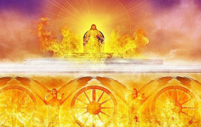 आग के पहियों के साथ अग्निमय रथ पर यीशु