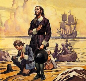 Pilgrims come ashore in the new world - America